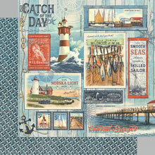 Load image into Gallery viewer, Graphic 45 Catch of the Day 12x12 Paper - Catch of the Day (4502167)