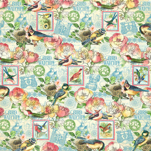 PRE-ORDER Graphic 45 Bird Watcher Collection 12X12 Scrapbook Paper - Just Breath (4502206)
