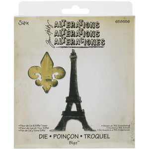 Sizzix / Tim Holtz Fleur de Lis & Eiffel Tower: 658556 RETIRED
