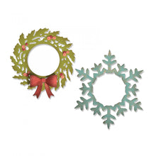 Load image into Gallery viewer, Sizzix Thinlits Wreath & Snowflake by Tim Holtz (664210)