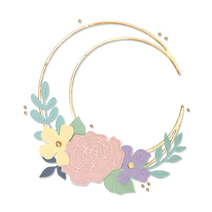 Pre-Order Sizzix Thinlits Die Set 10PK - Floral Crescent Moon Frame (665080)