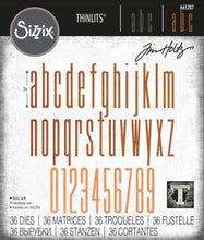 Load image into Gallery viewer, Sizzix Thinlits Die Set 36PK - Alphanumeric Stretch Lower & Numbers by Tim Holtz (665207)