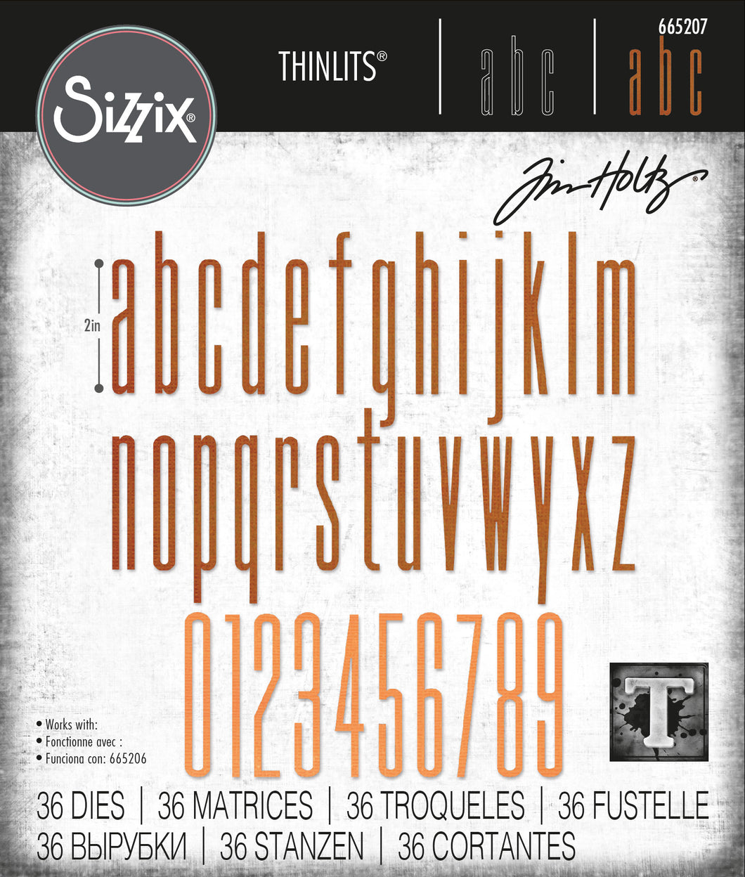 Sizzix Thinlits Die Set 36PK - Alphanumeric Stretch Lower & Numbers by Tim Holtz (665207)