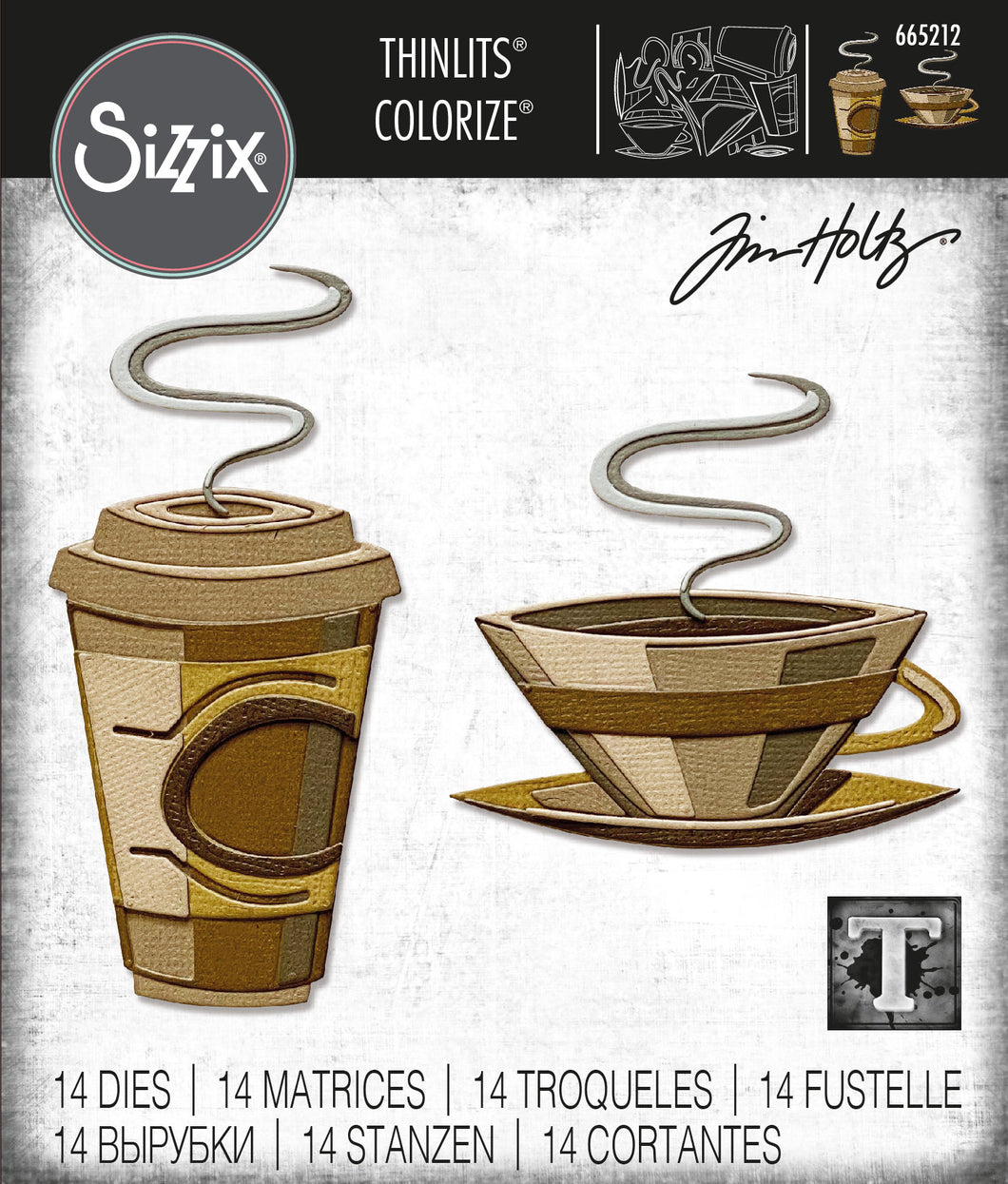 Sizzix Thinlits Die Set 14PK - Cafe, Colorize by Tim Holtz (665212)