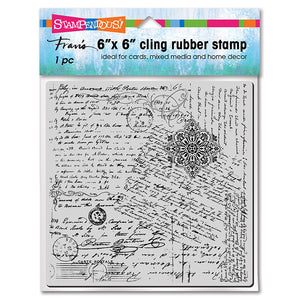 "Stampendous Fran's 6"" x 6"" Cling Rubber Stamp - Posted Script (6CR021)"