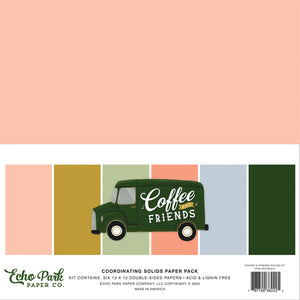 Echo Park Paper Co. 12x12 Coordinating Solids Paper Pack - Coffee And Friends (CF230015)