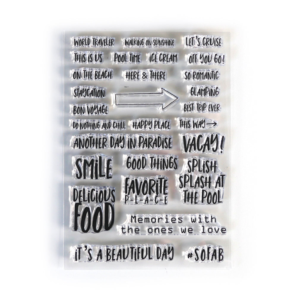 Elizabeth Craft Designs Planner Essentials Clear Stamp - Vacay Phrases (CS192)