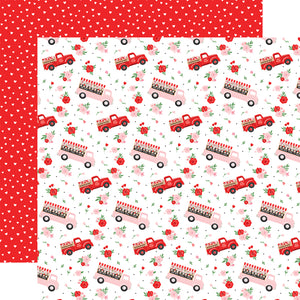 Echo Park Paper Co. 12x12 Scrapbook Paper - Cupid & Co. Collection - Flower Trucks (CUP227002)
