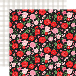 Echo Park Paper Co. 12x12 Scrapbook Paper - Cupid & Co. Collection - Valentine Floral (CUP227004)