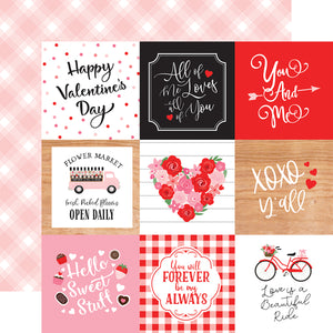 Echo Park Paper Co. 12x12 Scrapbook Paper - Cupid & Co. Collection - 4x4 Journaling Cards (CUP227011)