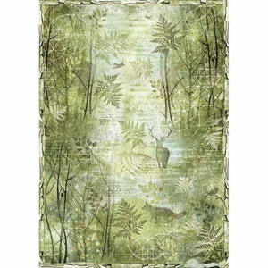Stamperia A3 Rice Paper Green Forest (DFSA3049)