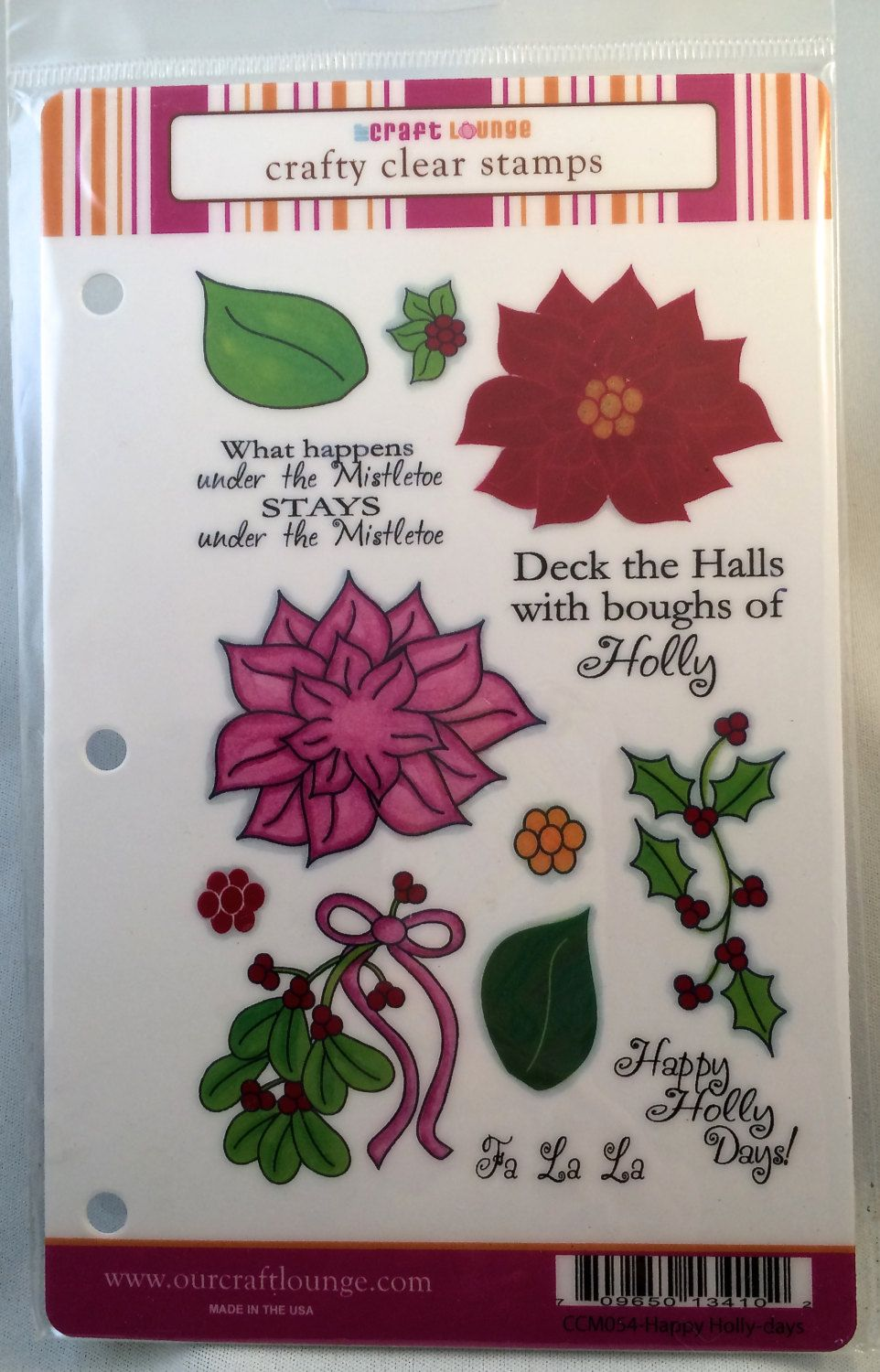 Our Craft Lounge Crafty Clear Stamps - Happy Holly-days (CCM054) Retired