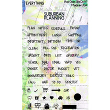 Load image into Gallery viewer, How Does She Do It? Suburban Planning Planner Stamp Set