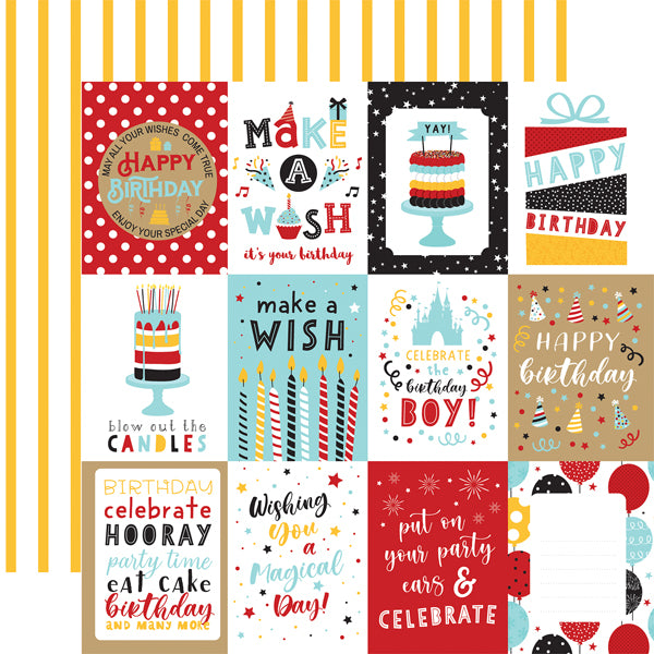 Echo Park Paper Co. 12x12 Scrapbook Paper - Magical Birthday Boy 3x4 Journaling Cards (MBB232003)