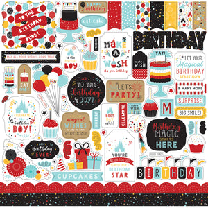 Echo Park Paper Co. 12x12 Scrapbook Paper - Magical Birthday Boy Elements (MBB232014)