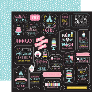 Echo Park Paper Co. 12x12 Scrapbook Paper - Magical Birthday Girl Collection - Make A Wish (MBG231002)
