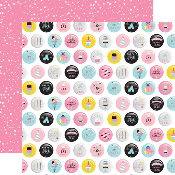 Echo Park Paper Co. 12x12 Scrapbook Paper - Magical Birthday Girl Collection - Eat Cake (MBG231006)