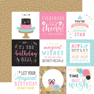 Echo Park Paper Co. 12x12 Scrapbook Paper - Magical Birthday Girl Collection - 4x4 Journaling Cards (MBG231007)
