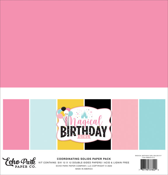 Echo Park Paper Co. Coordinating Solids Paper Pack - Magical Birthday Girl (MBG231015)