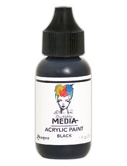 Dina Wakley Black Paint 1oz bottle MDQ53941