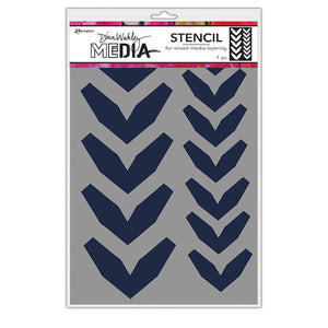 Dina Wakley MEdia Large Fractured Chevrons Stencil - MDS68228