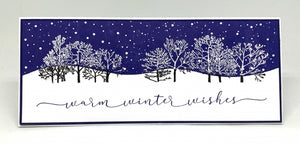 Impression Obsession Rubber Stamps - Slim Scenes - Snowy Night (3235-LG)