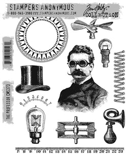 Tim Holtz- Stampers Anonymous Cling Stamps- The Professor (CMS373)