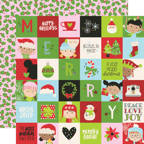 Simple Stories Say Cheese Christmas 12x12 Double Sided Paper - 2x2 Elements (11510)
