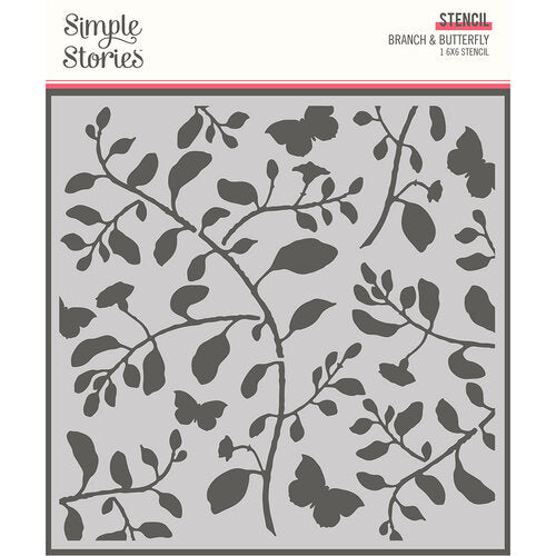 Simple Stories Branch & Butterfly 6x6 Stencil (14730)