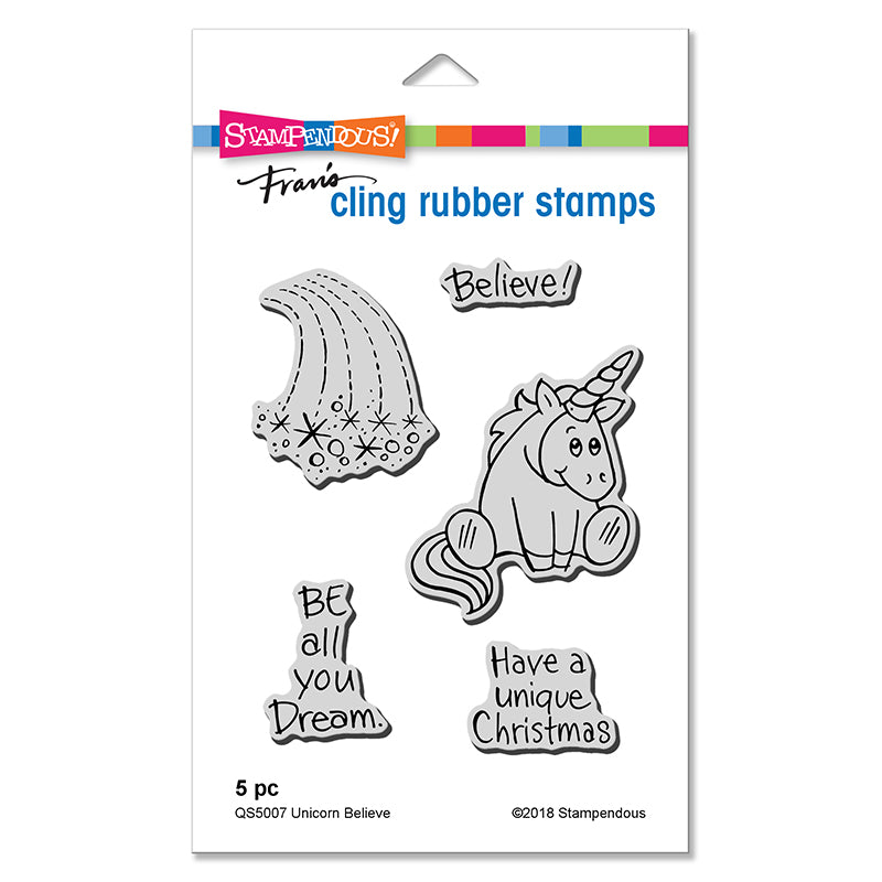 Stampendous Fran's Cling Rubber Stamps- Unicorn Believe (QS5007)
