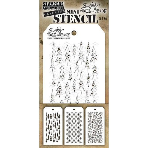 Stampers Anonymous Tim Holtz Collection Layering Mini Stencil - Set 50 (THMST050)
