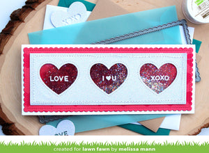 Lawn Fawn Lawn Cuts Custom Craft Dies - Scalloped Slimline with Hearts: Landscape (LF2476)