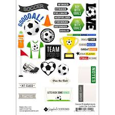 Scrapbook Customs Soccer Embellishments Laser Die Cut-Outs