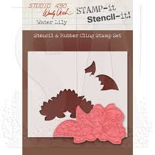 Studio 490 Wendy Vecchi Stamp-it Stencil It! Stencil & Rubber Cling Stamp Set - Water Lily WVSTST019