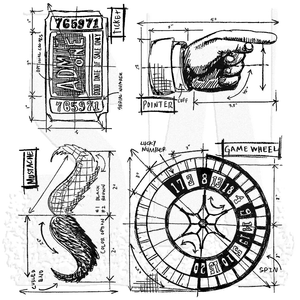 Tim Holtz Ringmaster Blueprint Stamp Item: CMS151