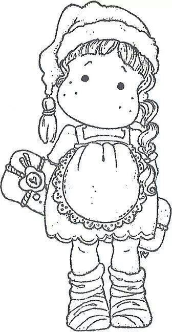 Magnolia Rubber Stamps- EZ Mounted Stamp- Tilda with Christmas presents (M922)