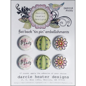 "Darcie's Heart & Home: Flat Back ""Tin Pin"" Embellishments- Prickly DHD318"