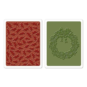 "Sizzix- Tim Holtz Alterations- Texture Fades- ""Holly Pattern"" and ""Wreath & Bow"" (658269) - RETIRED"