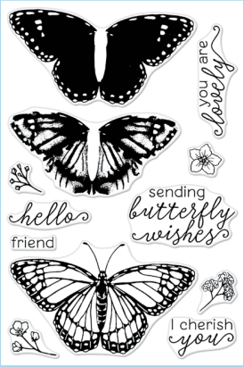 Hero Arts- Polyclear Stamps- Color Layering Monarch Butterfly (CMS331)