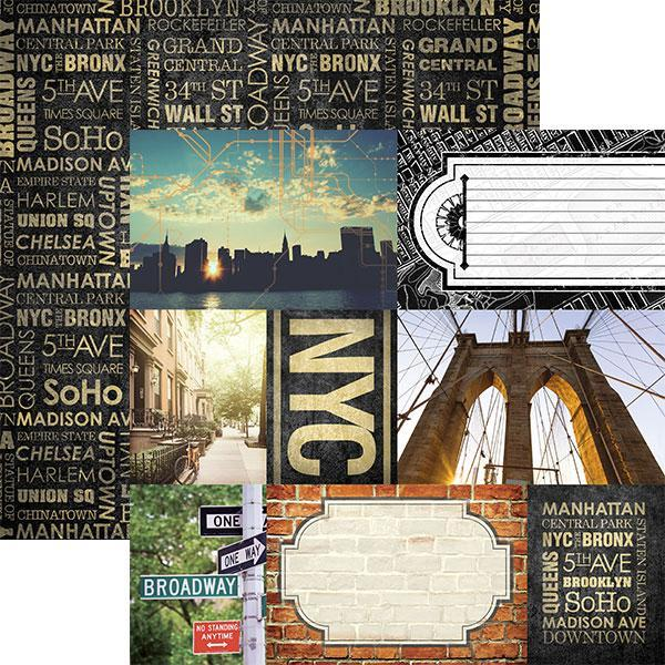 Paper House Productions 12x12 Scrapbook Paper -  NYC Collection Tags (P-2032)