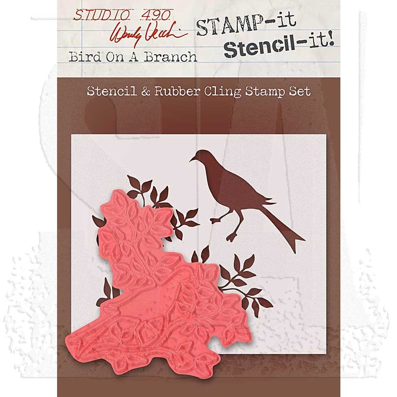 Stencil & Rubber Cling Stamp Set - Bird On A Branch WVSTST023 Wendy Vecchi