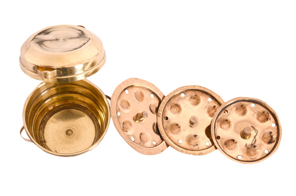 Brass Idli Making Vessels Pretend Play Set, Pital Idli Patra