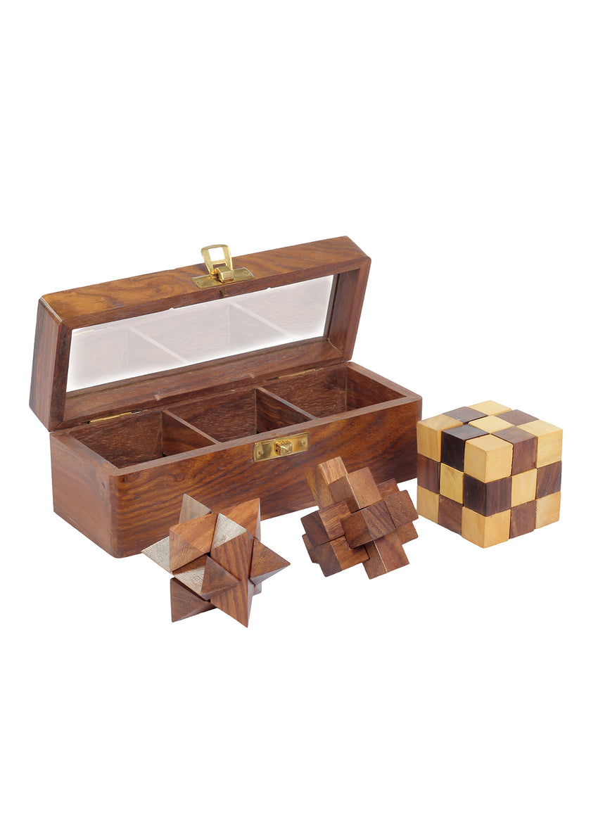 3 in 1 puzzle set , Teen Paheli with Burr, Star and Snake Cube Puzzle