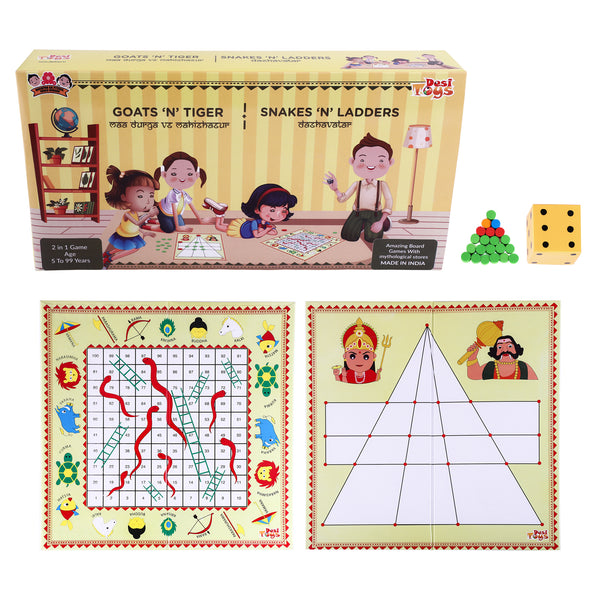 2 in 1 Strategy Board game of Goats n Tigers & Snakes n Ladders