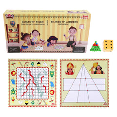 2 in 1 Goats n Tigers & Snakes n Ladders Strategy Board Game