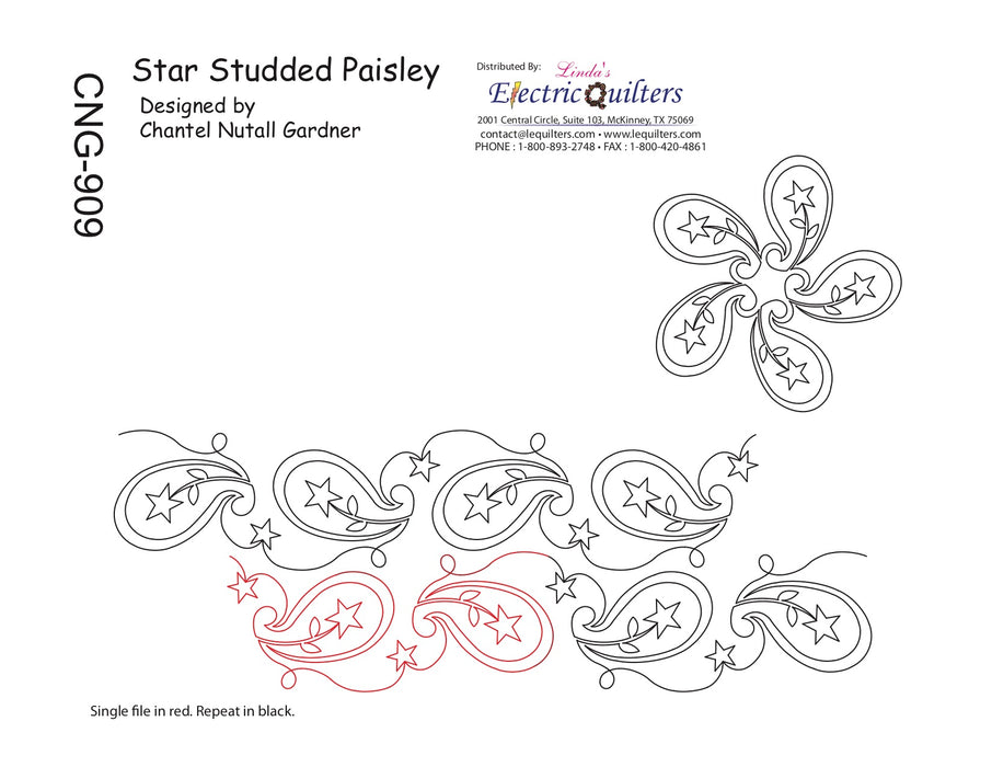909 Star Studded Paisley Pantograph by Chantel Gardner