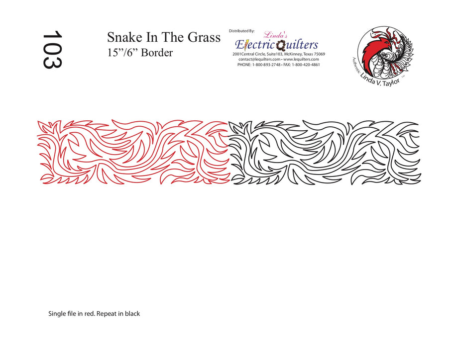 103 Snake In The Grass Pantograph by Linda V. Taylor