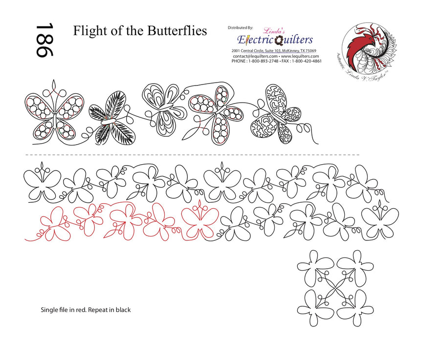 186 Flight Of The Butterflies Pantograph with Blocks by Linda V. Taylor