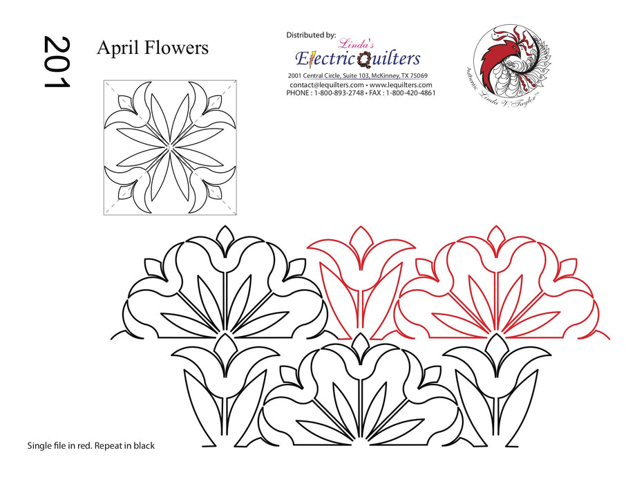 201 April Flowers Pantograph And Blocks Combo