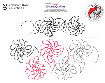 020 Feathered Rose Collection 1 Pantograph by Linda V. Taylor